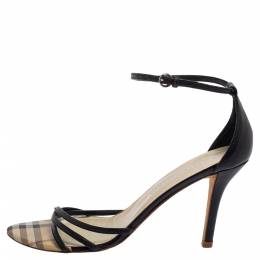 Burberry Black Leather Ankle Strap Sandals Size 38 396810