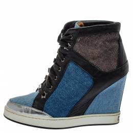 Jimmy Choo Blue/Black Denim And Leather Wedge Panama Sneakers Size 37.5 396210