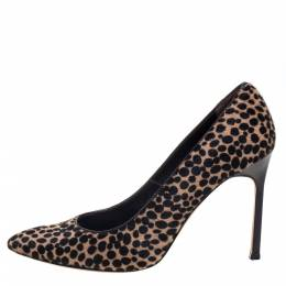 Manolo Blahnik Black/Beige Leopard Print Calf Hair Pumps Size 39.5 396089