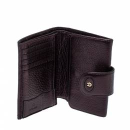 Metallic Purple Leather Compact Wallet 396576 Aigner