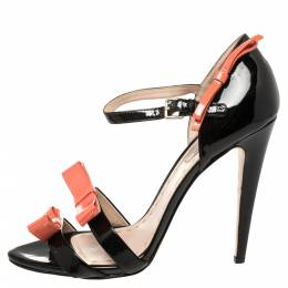 Miu Miu Black /Orange Patent Leather Sandals Size 39 396401