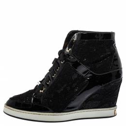Jimmy Choo Black Lace And Patent Leather Wedge Panama Sneakers Size 37.5 396218