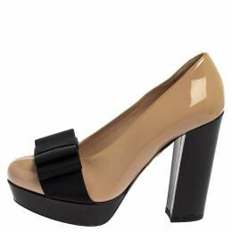 Miu Miu Beige/Black Patent Leather Bow Pumps Size 35 395787