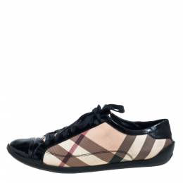 Burberry Black Patent Leather And Nova Check Coated Canvas Cap Toe Sneakers Size 40 397618