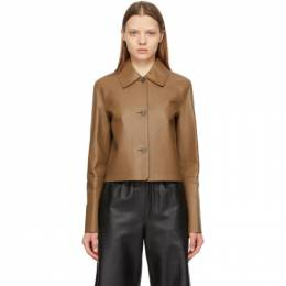 Loewe Brown Leather Button Jacket S540330X70