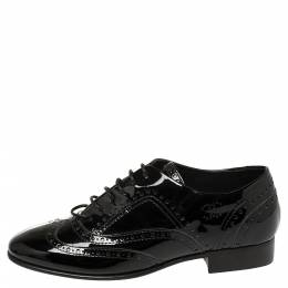 Chanel Black Patent Leather Brogue Lace-Up Oxfords Size 38 397032