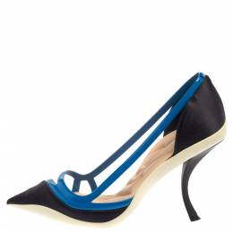 Dior Two Tone Blue Patent Leather And Satin Pointed Toe Curved Heel Pumps Size 39 398658