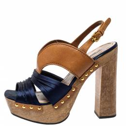 Miu Miu Blue Satin And Leather Studded Platform Sandals Size 39 398760