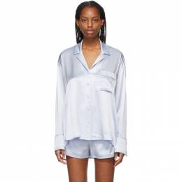 T by Alexander Wang Blue Silk Embroidered Pajama Shirt 4WC2211454
