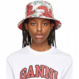 Ganni Off-White and Red Recycled Tech Seasonal Bucket Hat A3326