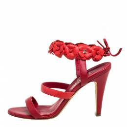 Chanel Red Leather Camellia Ankle Strap Sandals Size 37.5 398748