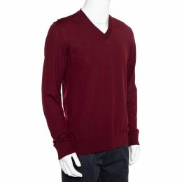Dolce and Gabbana Burgundy Wool V-Neck Long Sleeve Pullover XL 398567