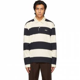 Ami Alexandre Mattiussi Navy and Off-White Striped Rugby Polo E21HJ206.75