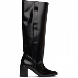 Ami Alexandre Mattiussi Black Leather Block Heel Tall Boots E21FS801.881