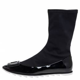Roger Vivier Black Patent Leather And Stretch Fabric Gommette Ankle Boots Size 39 399215