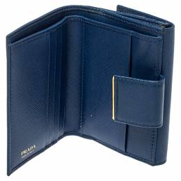 Prada Blue Saffiano Leather Metal Trifold Wallet 398857