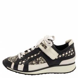 Pierre Hardy Monochrome Leather And Printed Python Low Top Sneakers Size 39 400205