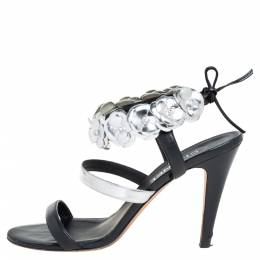 Chanel Black/Silver Leather Camellia Open Toe Ankle Strap Sandals Size 41 399363