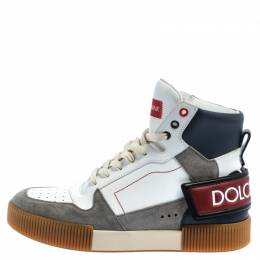 Dolce and Gabbana White/Grey Leather And Suede High Top Sneakers Size 42 393061