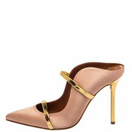 Malone Souliers Blush Gold Satin And Leather Maureen Sandals Size 38 401399
