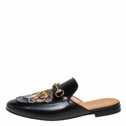Gucci Black Tiger Embroidered Leather Horsebit Princetown Mules Size 42 401610