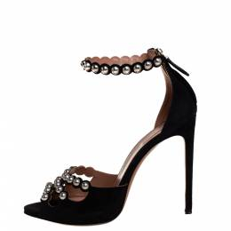 Alaia Black Suede Studded Ankle Strap Sandals Size 40 401663