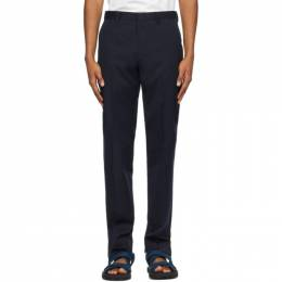 Dries Van Noten Navy Twill Tapered Trousers 211-20921-2277