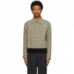 Dries Van Noten Black and Yellow Houndstooth Long Sleeve Polo 211-20748-2033