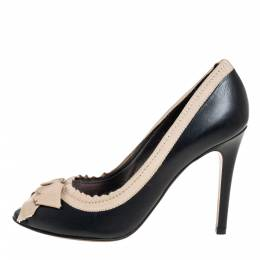 Lanvin Black Leather And Fabric Grosgrain Bow Peep Toe Pumps Size 38 401762