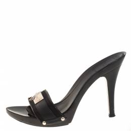 Dior Black Leather And Canvas Logo Mules Size 36 402286