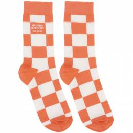 Opening Ceremony White and Pink Check Box Logo Socks YMRA001S21FAB0020126