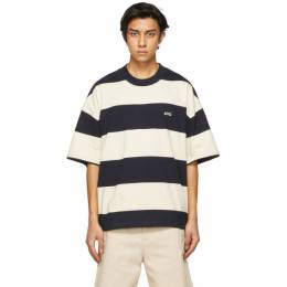 Ami Alexandre Mattiussi Navy and Off-White Striped Rugby T-Shirt E21HJ136.75