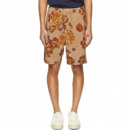 Ami Alexandre Mattiussi Beige and Orange Flower Printed Elasticized Waist Bermuda Shorts E21HT760.291