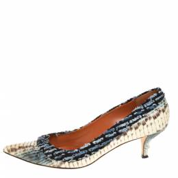 Oscar de la Renta Multicolor Python Embossed Leather And Fabric Pointed Toe Pumps Size 39.5 402959