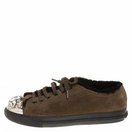 Miu Miu Olive Green Suede And Shearling Studded Cap Toe Sneakers Size 38 402963