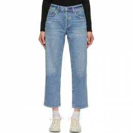 Citizens of Humanity Blue Emery Crop Relaxed Straight Jeans 1766-1292