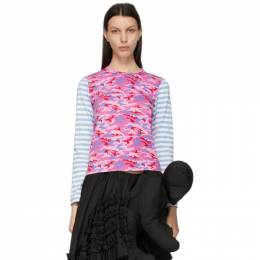 Blue Camo and Stripe Long Sleeve T-Shirt NG-T002-051 Comme des Garcons Girl