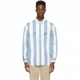 Levi's Blue and White Denim Stripe Oversized Barstow Shirt 85470-0004
