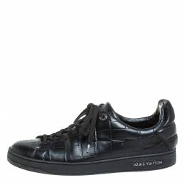 Louis Vuitton Black Croc Embossed Leather Front Row Lace Up Sneakers Size 40 404527