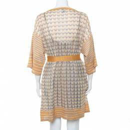 M Missoni Multicolor Patterned Perforated Knit Boat Neck Belted Dress L 402598