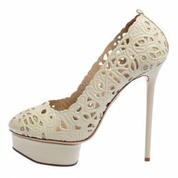 Charlotte Olympia Cream White Cut Out Leather Scribble Dolores Platform Pumps Size 39 403672