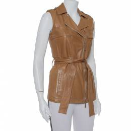 Gucci Brown Leather Sleeveless Belted Vest S 402007