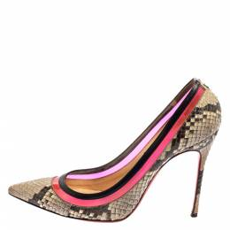 Christian Louboutin Two Tone Python And PVC Paulina Pointed Toe Pumps Size 40 402834