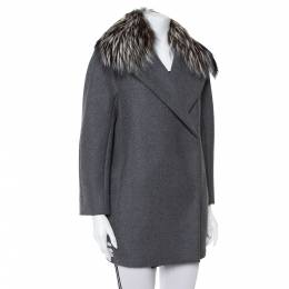 Max Mara Atelier Grey Collar Fur Lined Double Breasted Jacket S 403048