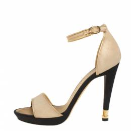 Chanel Beige Fabric And Leather Ankle Strap Sandals Size 39 403158