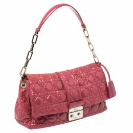 Dior Pink Cannage Patent Leather Medium New Lock Shoulder Bag 403155