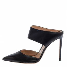 Gianvito Rossi Black Leather Mule Sandals Size 42 403179