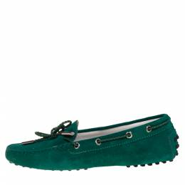 Tod's Green Suede Bow Driving Loafers Size 39 402289