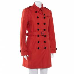 Burberry Brit Burnt Orange Cotton Double Breasted Trench Coat L 404615