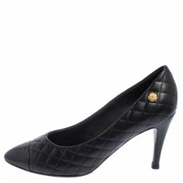 Chanel Black Quilted Leather Cap Toe Pumps Size 40.5 406133